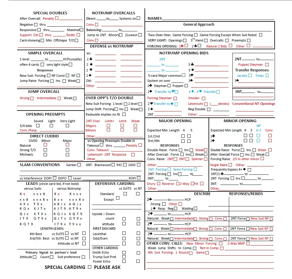 convention cards with personal score sheet form 1240