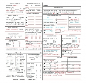 convention cards with personal score sheet form 1240 standard
