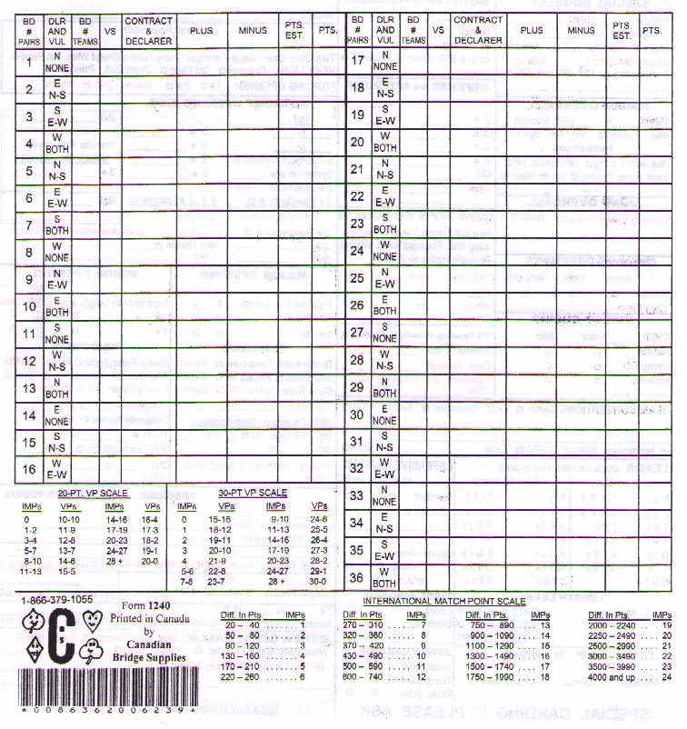 Convention Cards With Personal Score Sheet - Form 1240 - Standard