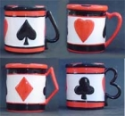 Poker Or Bridge-Set Of 4 Mugs With Suit Handle